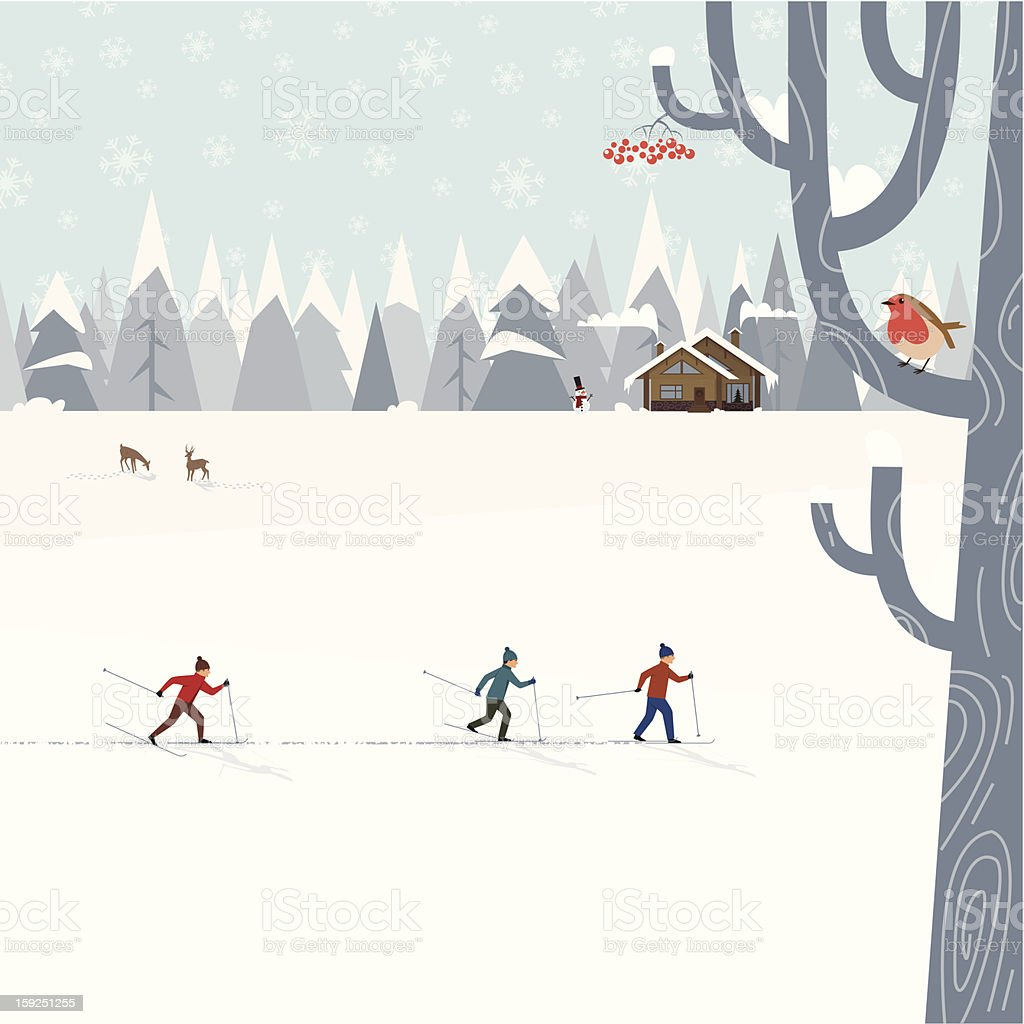 Cross-country skiing vector art illustration