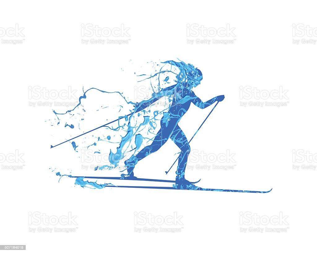 cross-country skiing vector art illustration