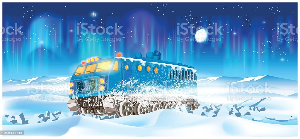 cross-country vehicle at night vector art illustration