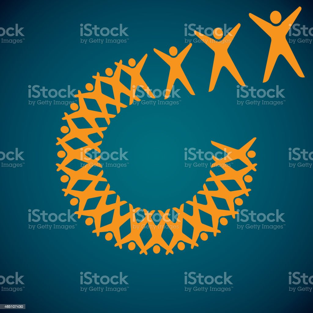 crossed arms breaking up the circle of people vector art illustration