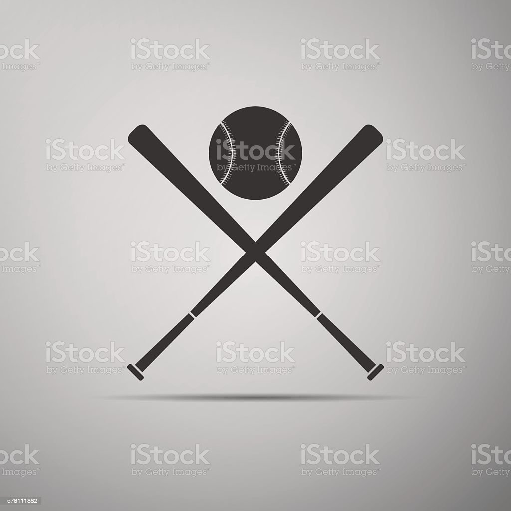 Crossed baseball bats and ball icon. vector art illustration