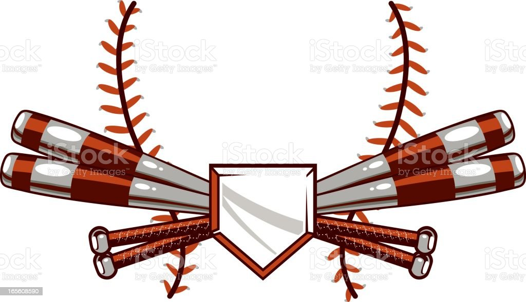 Crossed Bats and Laces vector art illustration