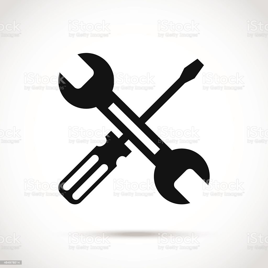 Crossed black and white wrench and screwdriver logo design elements vector art illustration
