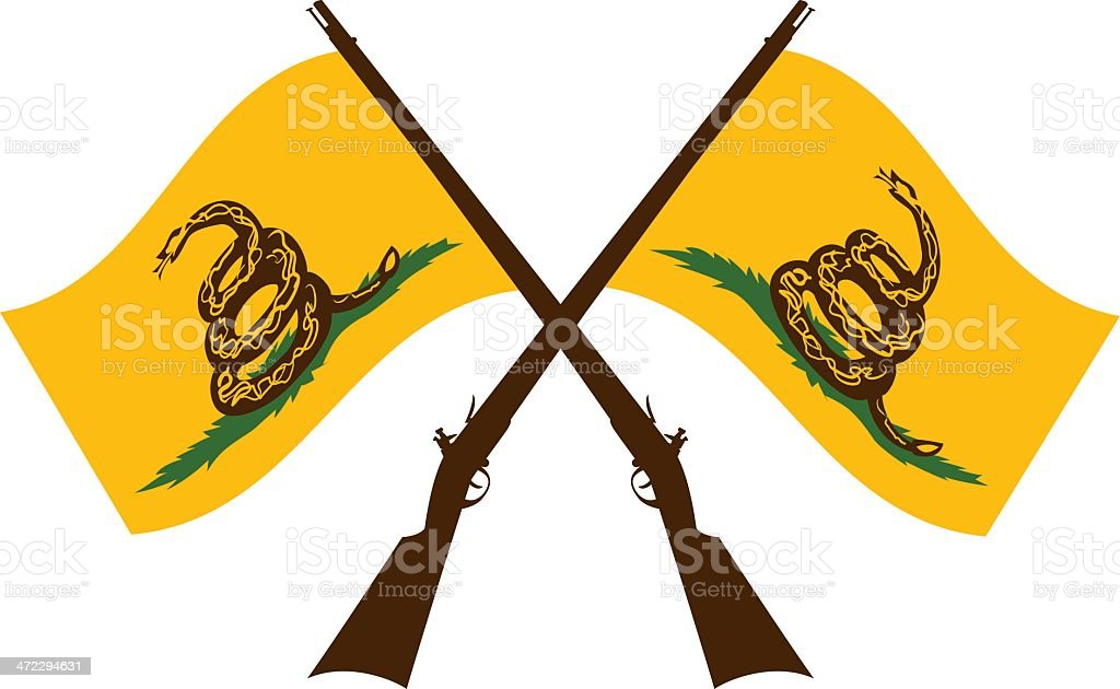 crossed dont tread on me flags vector art illustration