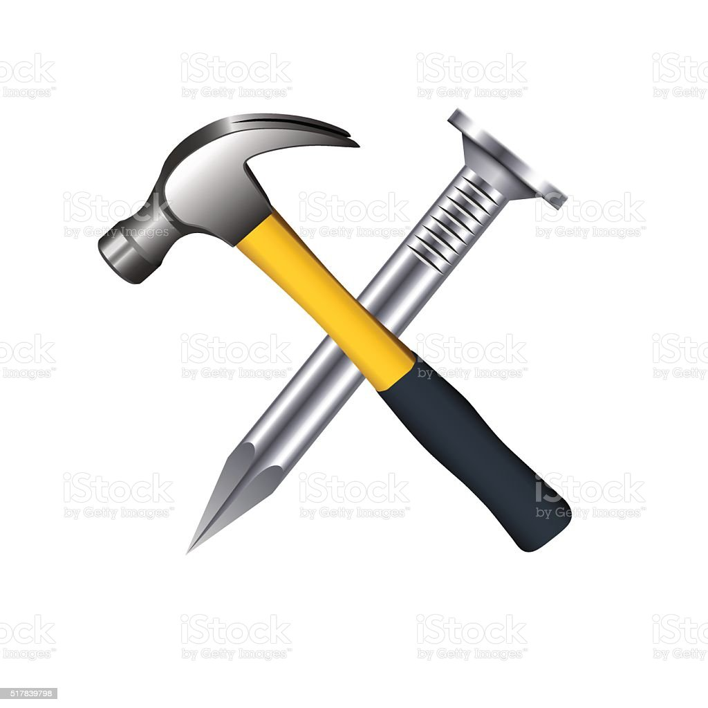 Crossed hammer and nail isolated on white background. vector art illustration