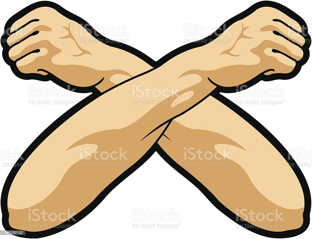 Crossed hands royalty-free stock vector art
