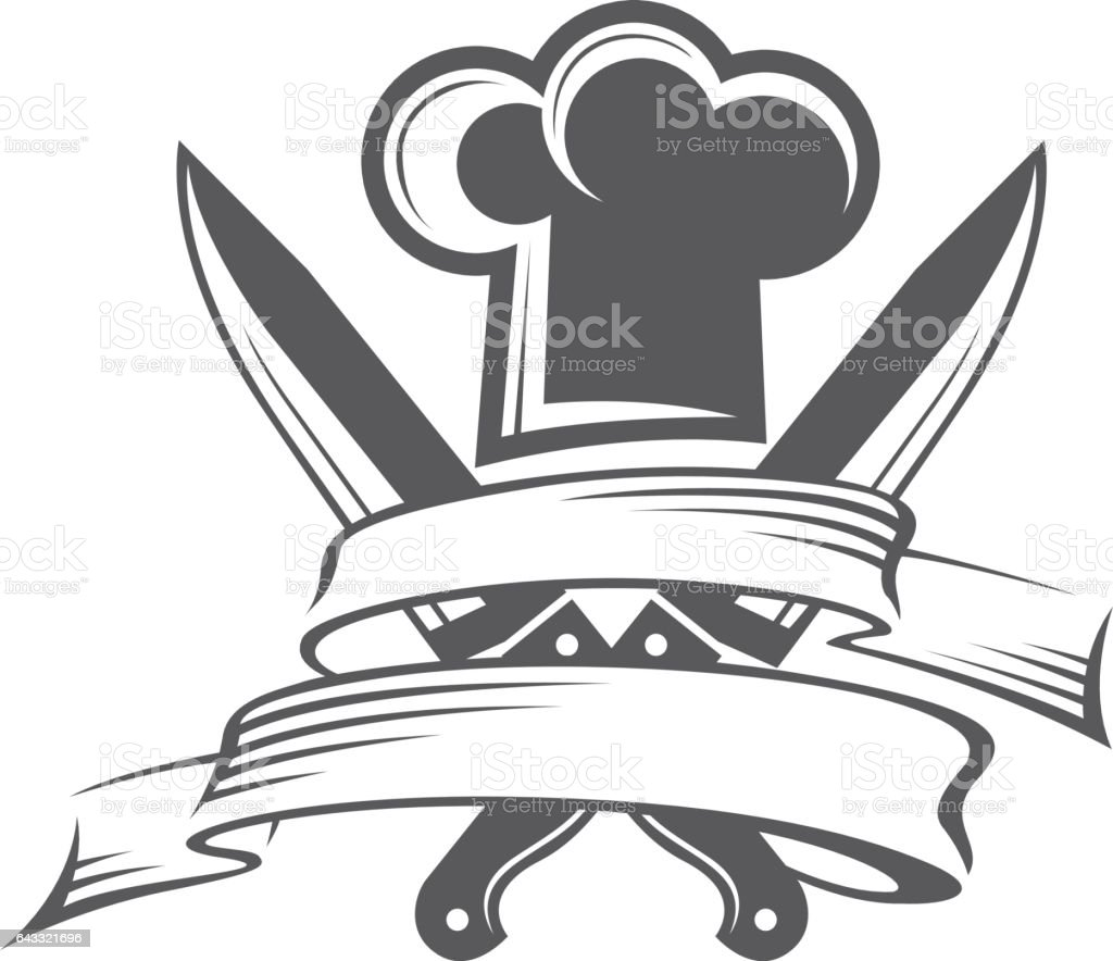 crossed knives and chef hat with mustache vector art illustration