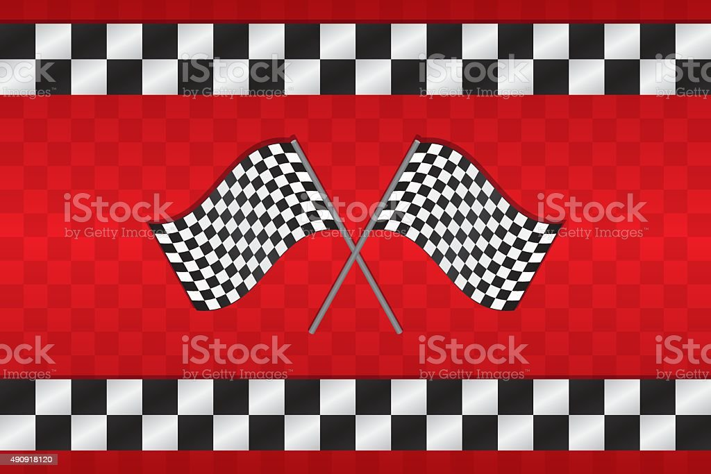 Crossed Racing Checkered Flags Background vector art illustration