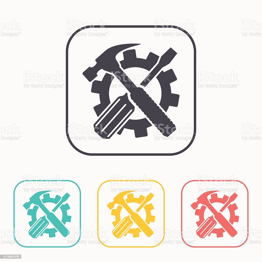 Crossed screwdriver and hammer tools, vector color icon set vector art illustration