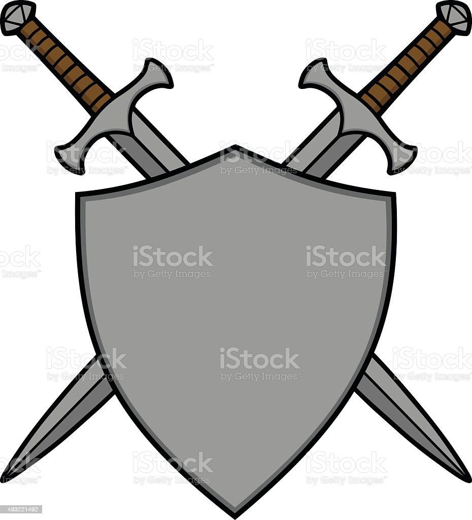 Crossed Swords and Shield vector art illustration