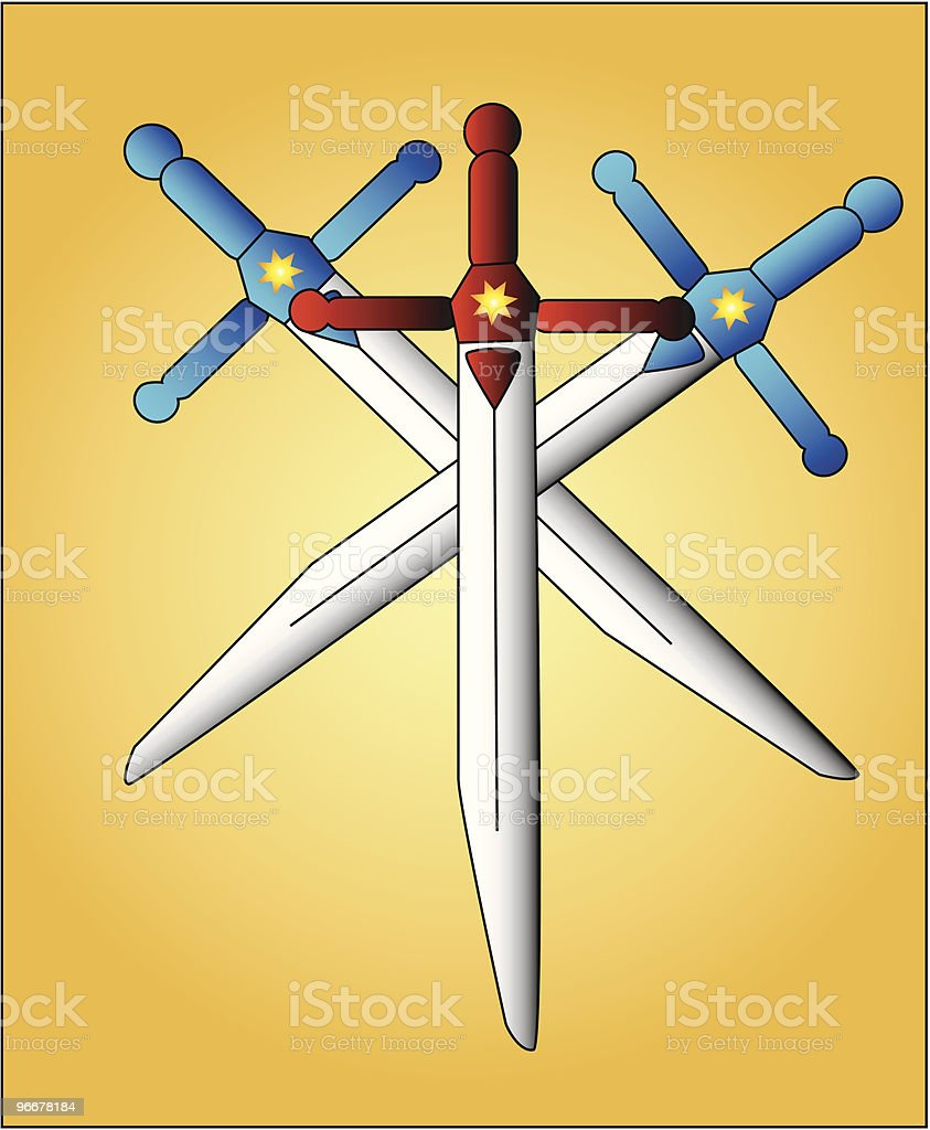 Crossed swords royalty-free stock vector art