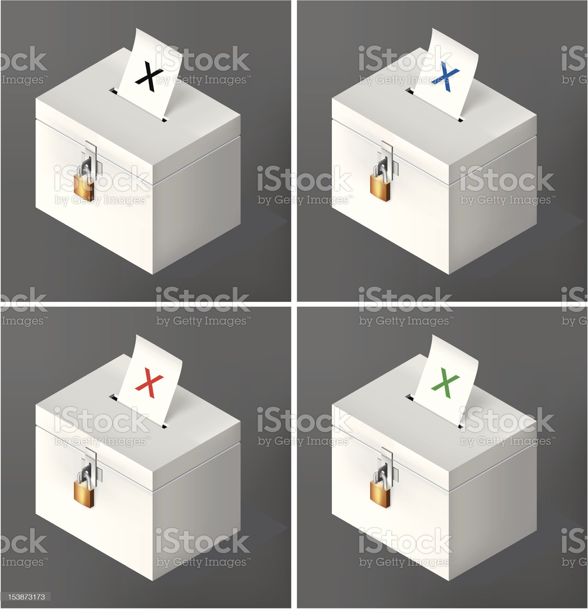 Crossed voting ballot royalty-free stock vector art