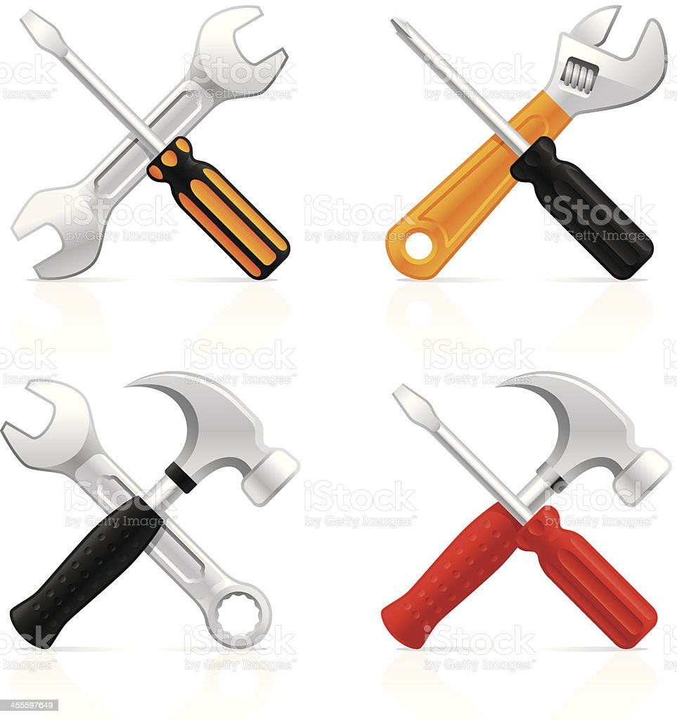 Crossed work tools - Vector icons vector art illustration