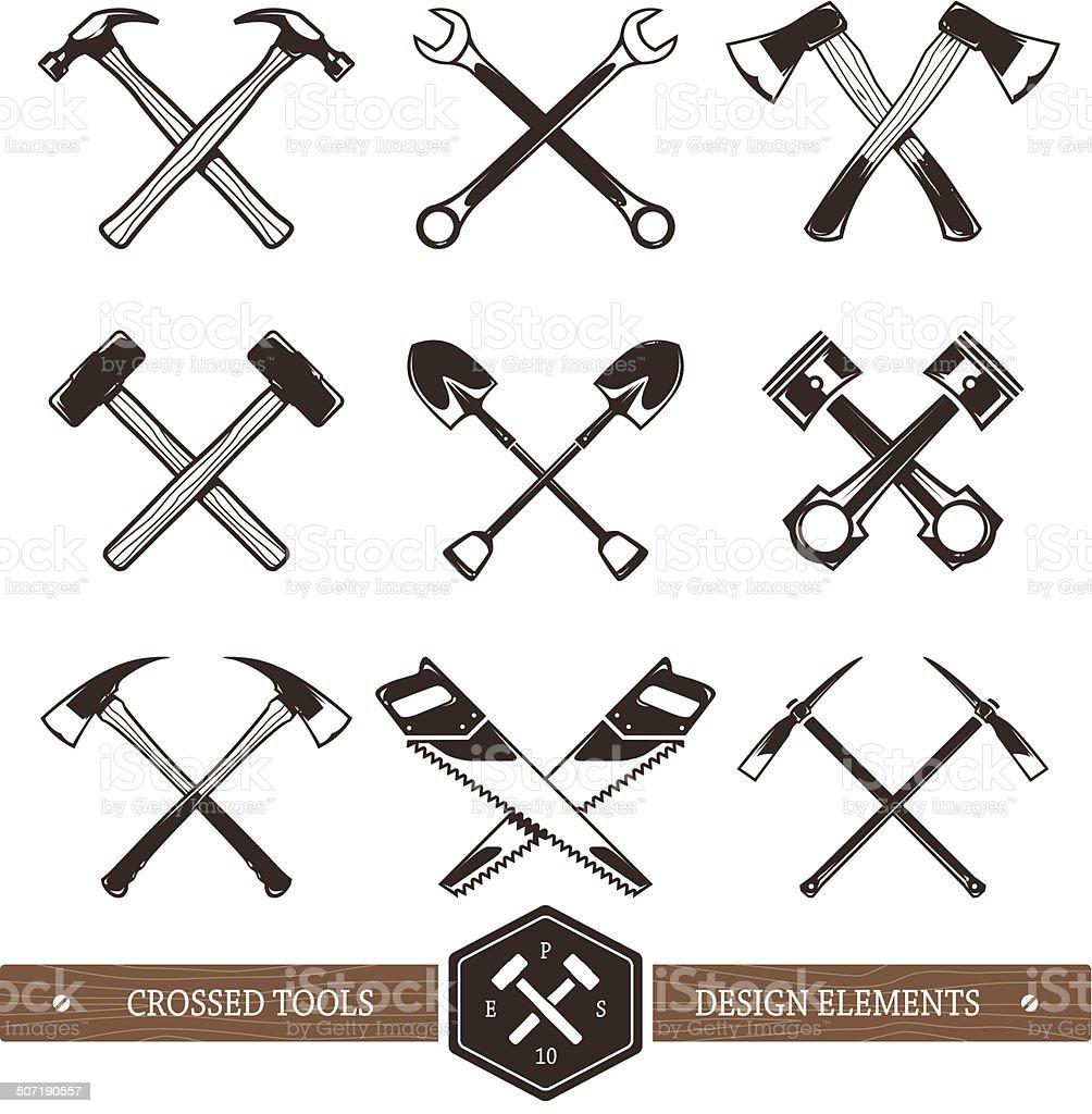 Crossed Work Tools vector art illustration