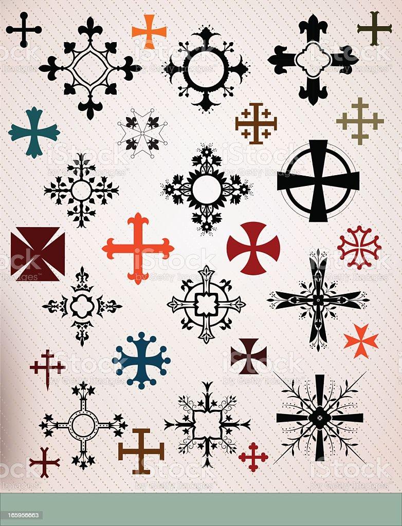 crosses set vector art illustration
