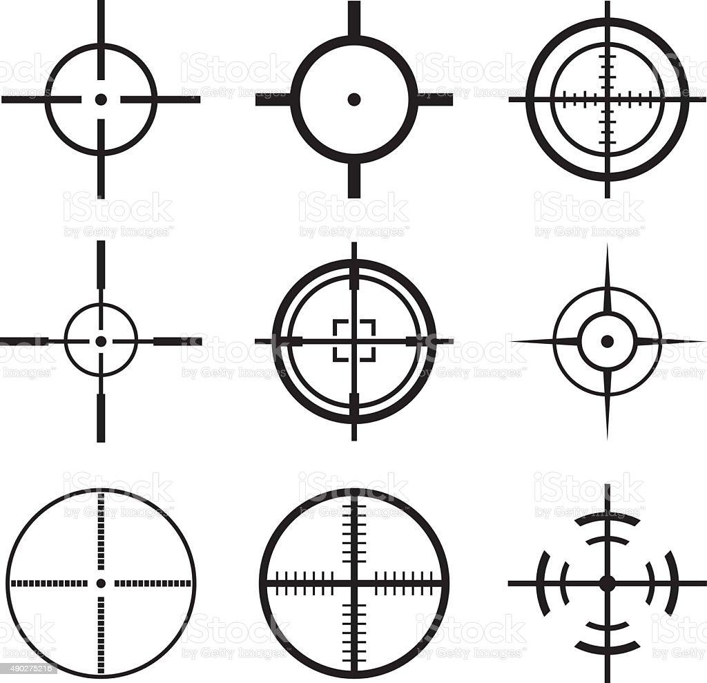 Crosshair Icons Set vector art illustration
