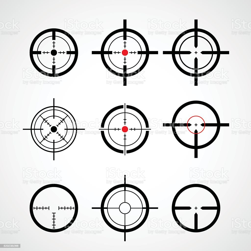 Crosshair (gun sight), target icons set vector art illustration