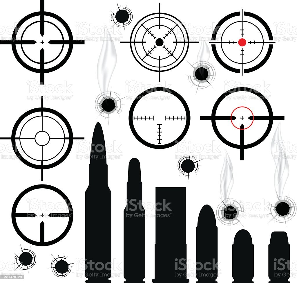 Crosshairs (gun sights), bullet cartridges and bullet holes vector art illustration
