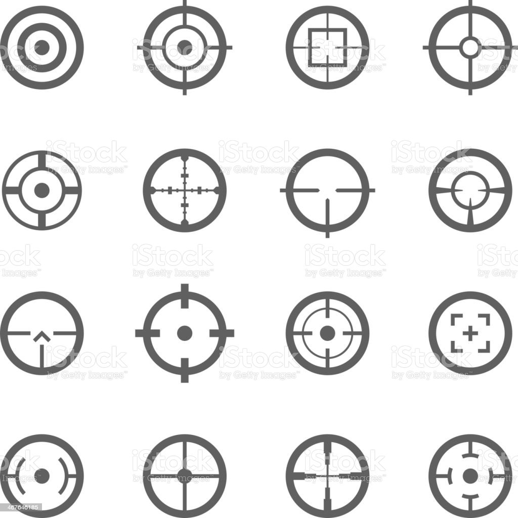 Crosshairs icons vector art illustration