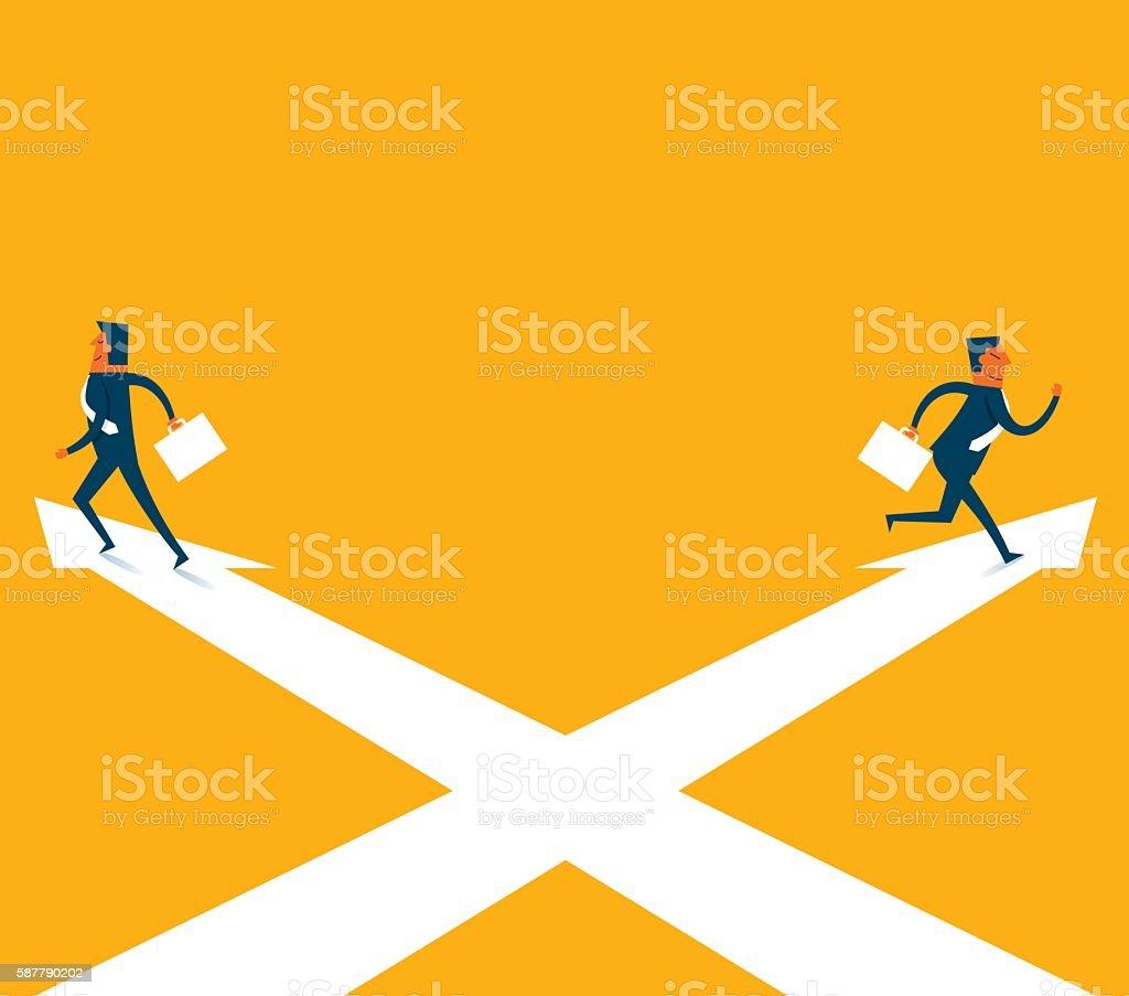 Crossing arrow sign vector art illustration