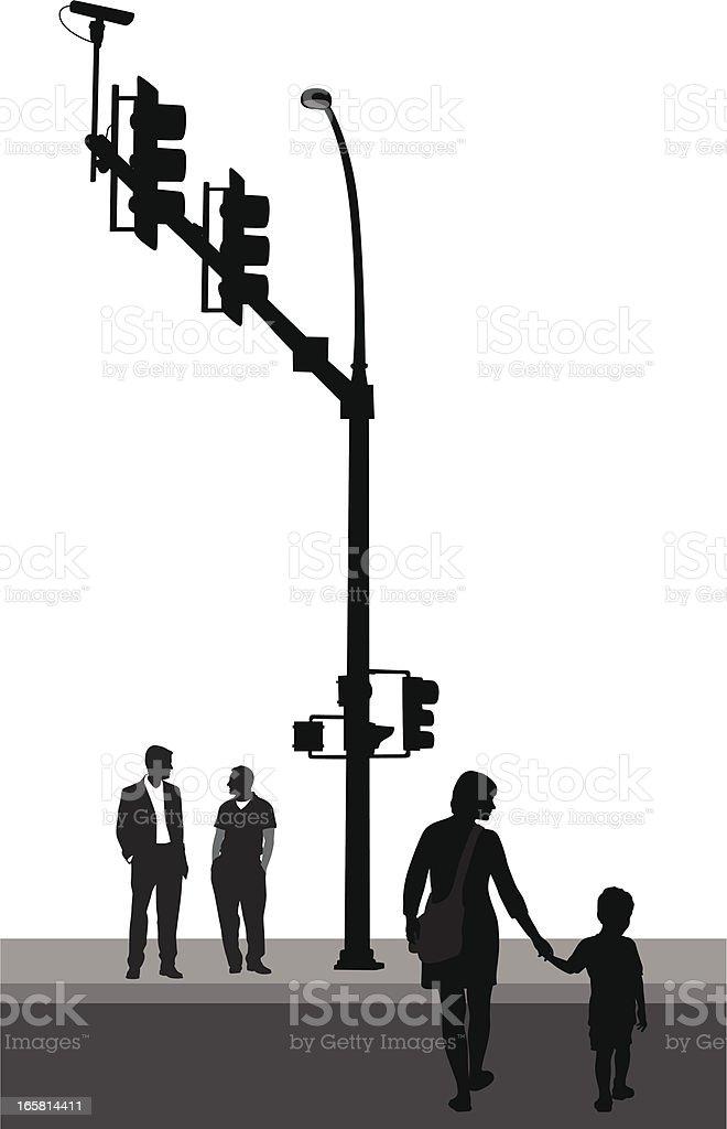 Crossing Roads Vector Silhouette royalty-free stock vector art
