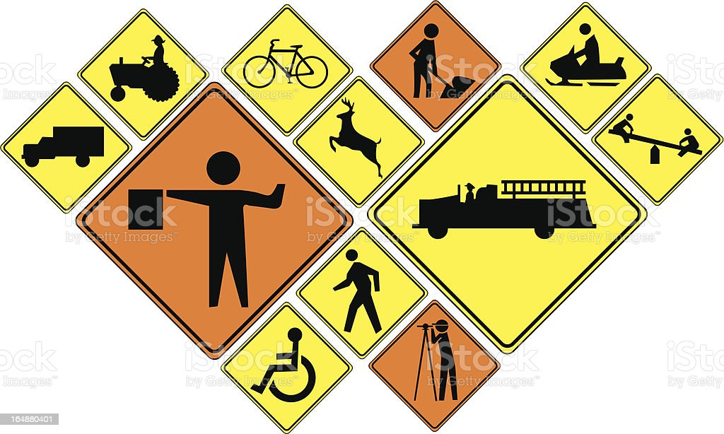 Crossing signs (warning and people at work) vector art illustration
