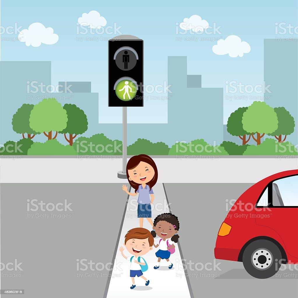 Crossing the road. Green light vector art illustration