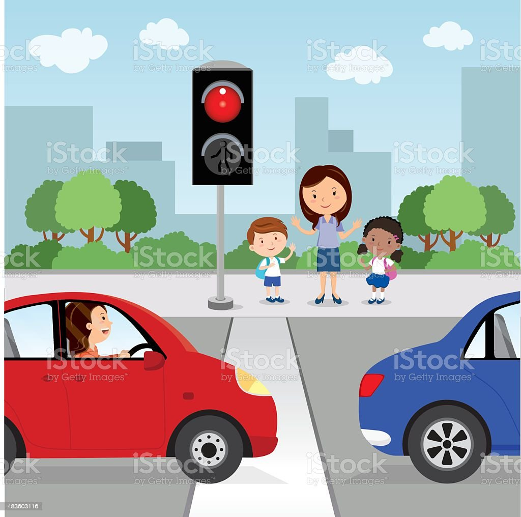 Crossing the road. Red light vector art illustration