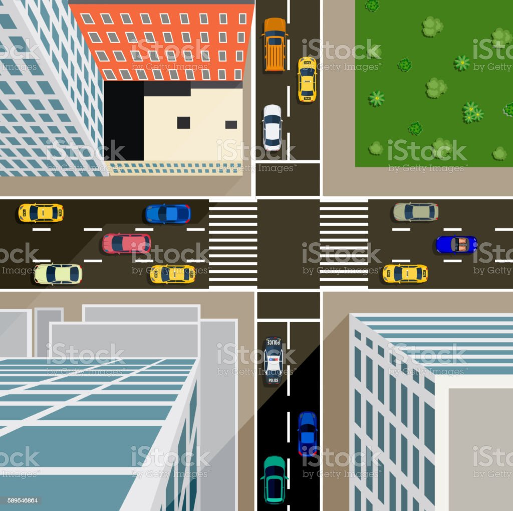 Crossroads in the city top view. vector art illustration