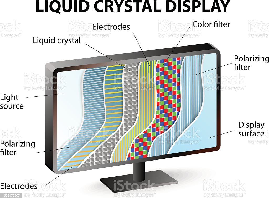 Cross-section of an LCD display vector art illustration