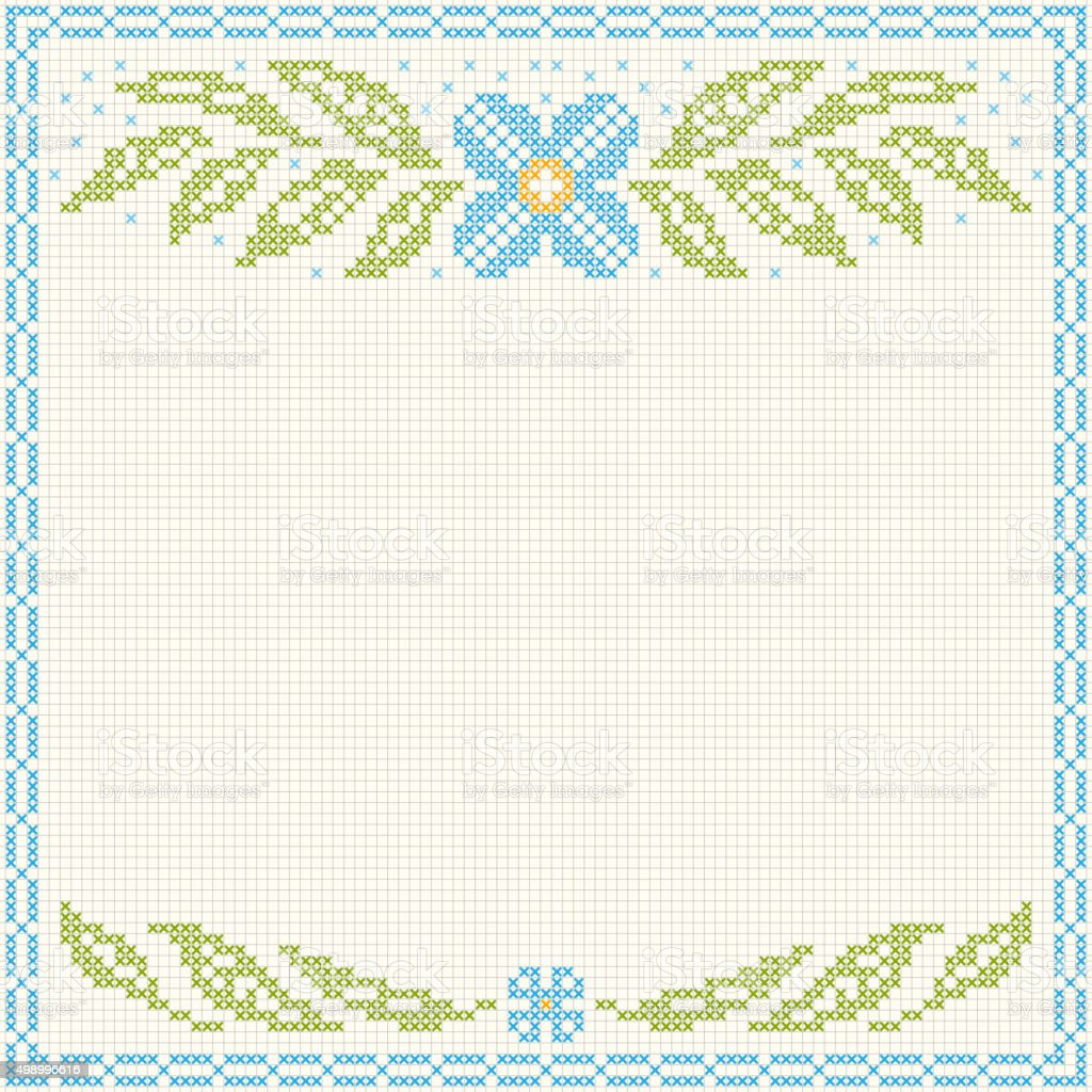 Cross-stitch embroidery - flowers and leaves vector art illustration