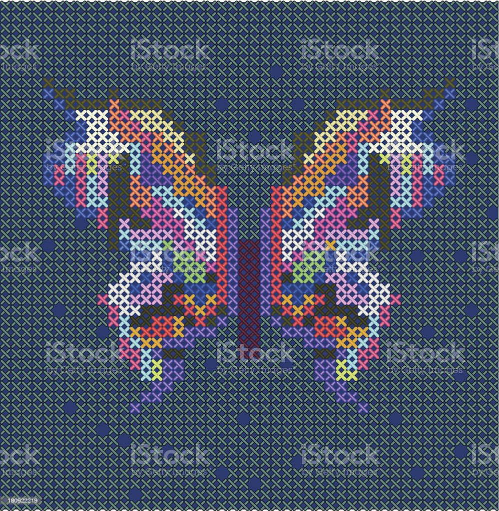 cross-stitch ethnic butterfly royalty-free stock vector art