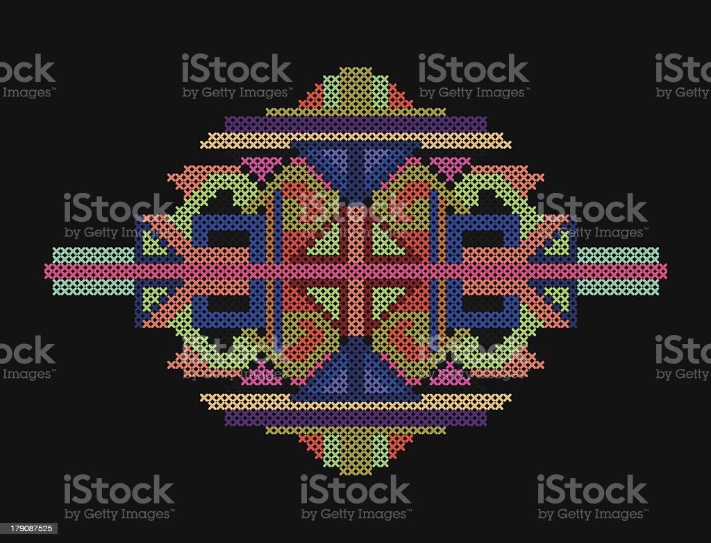 cross-stitch ethnic ornament royalty-free stock vector art