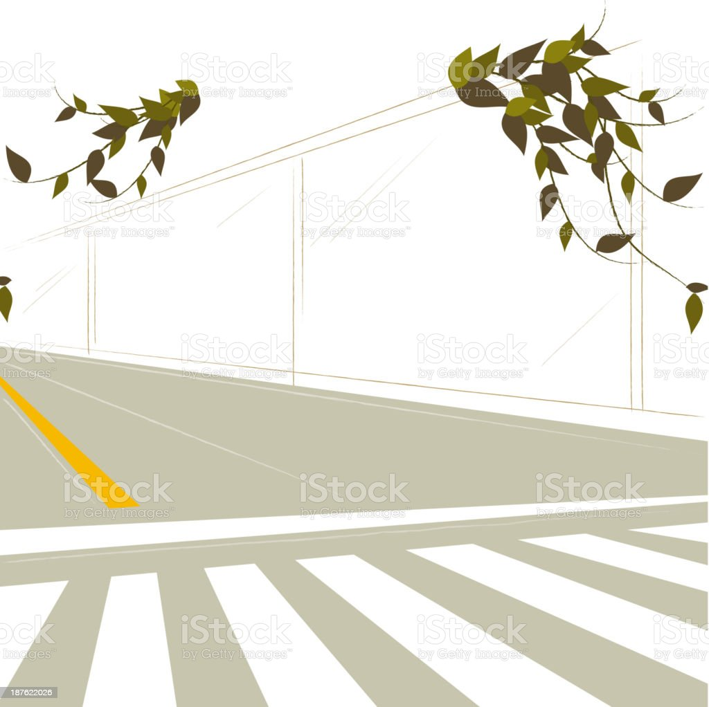 Crosswalk and dividing line on road royalty-free stock vector art