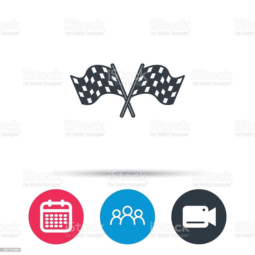 Crosswise racing flags icon. Finishing symbol. vector art illustration