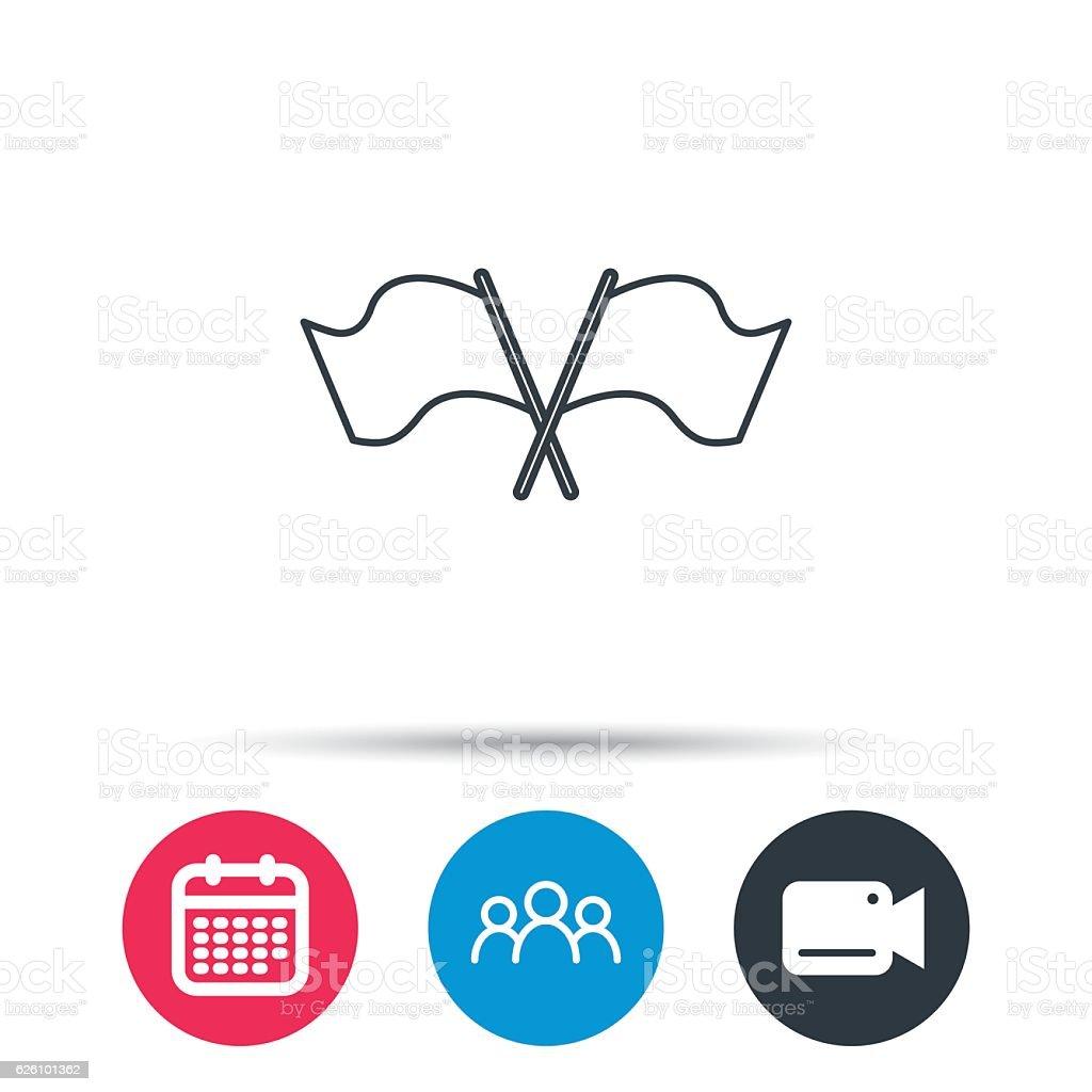 Crosswise waving flag icon. Location pointer. vector art illustration