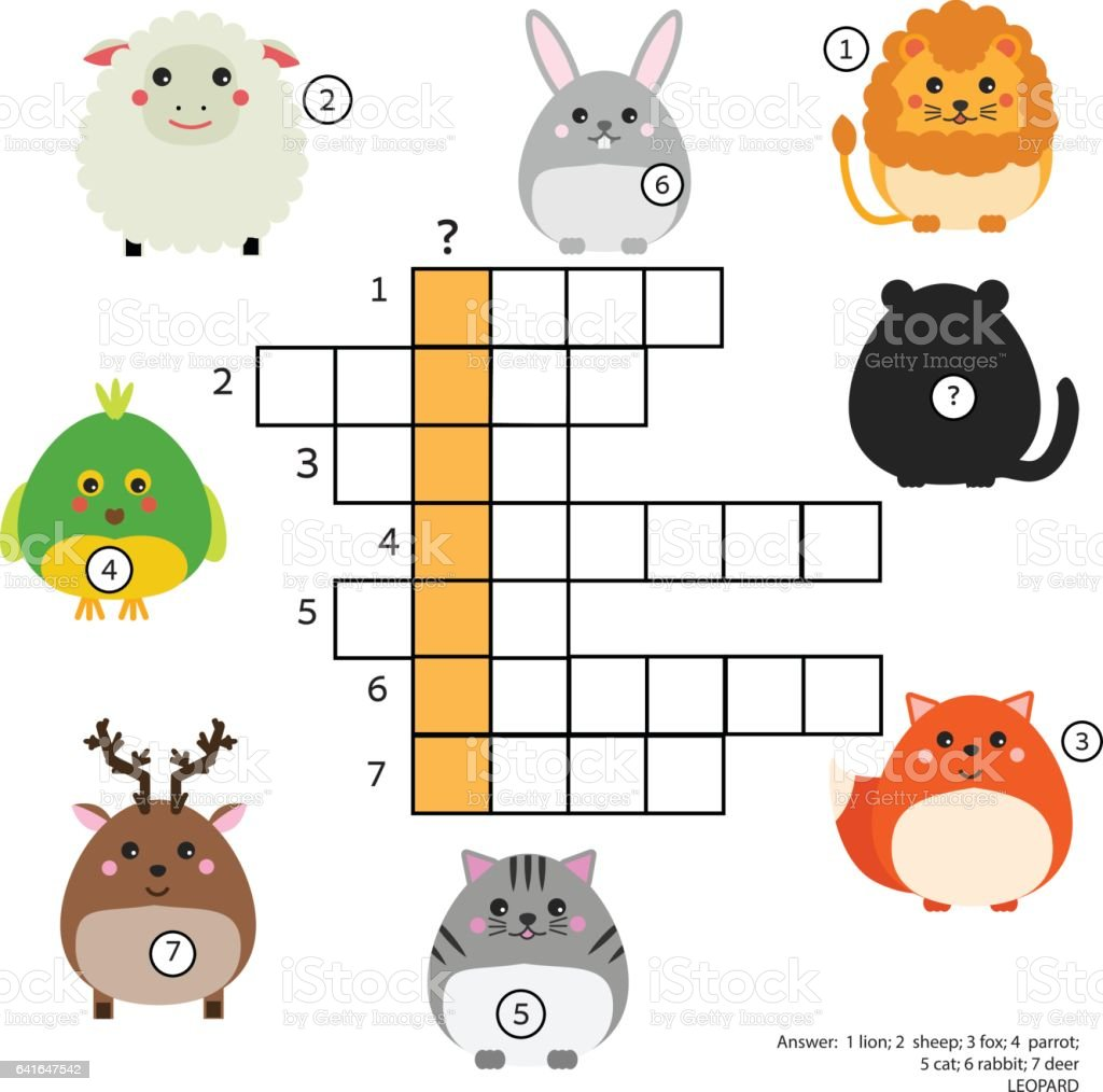 Crossword educational children game with answer. Animals theme. Learning vocabulary vector art illustration