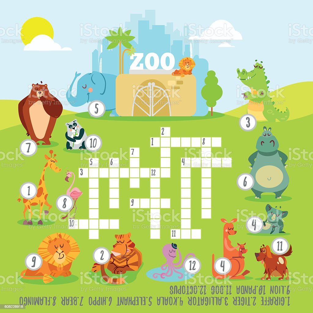 Crossword game concept about zoo animals vector art illustration