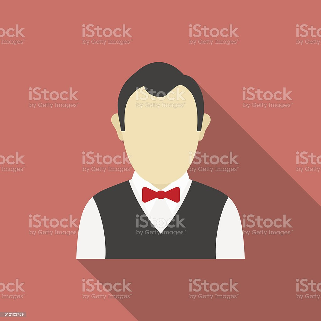 Croupier icon. Modern Flat style with a long shadow vector art illustration