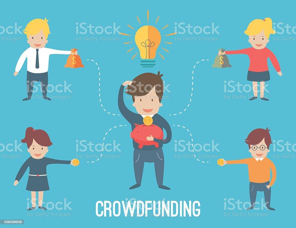 Crouwdfunding concept infographic vector art illustration