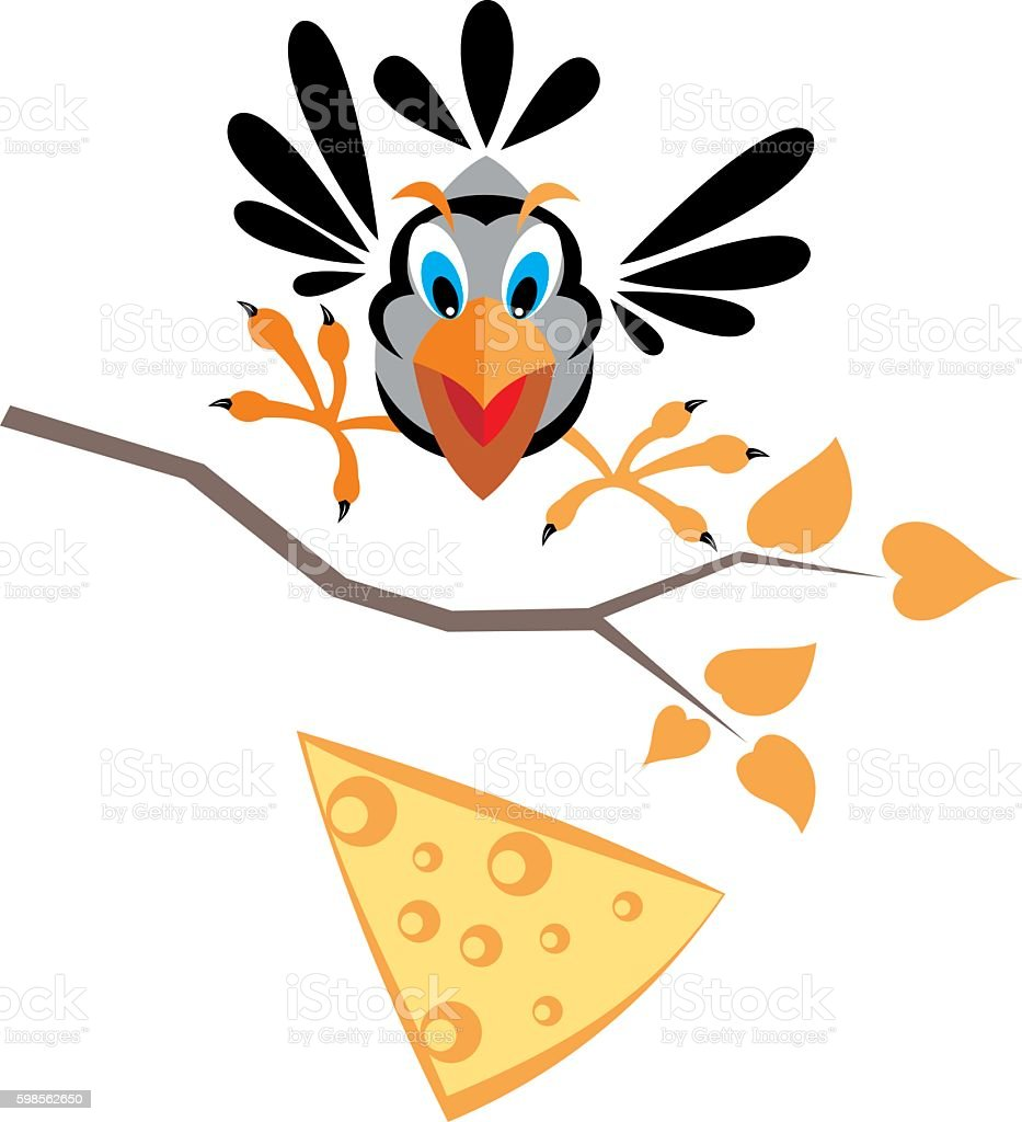 crow and cheese vector art illustration