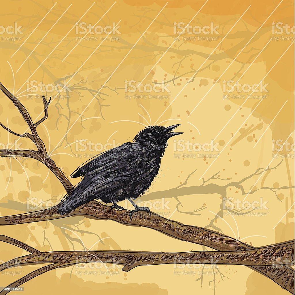 Crow In The Rain royalty-free stock vector art