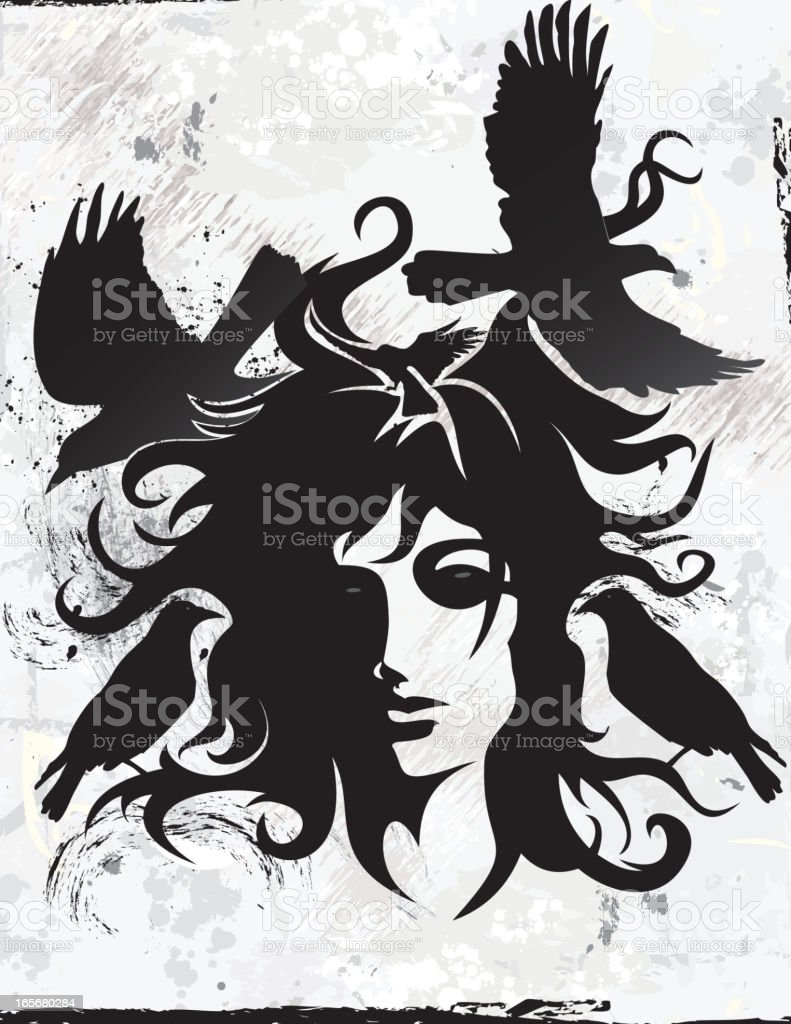 Crow Woman vector art illustration