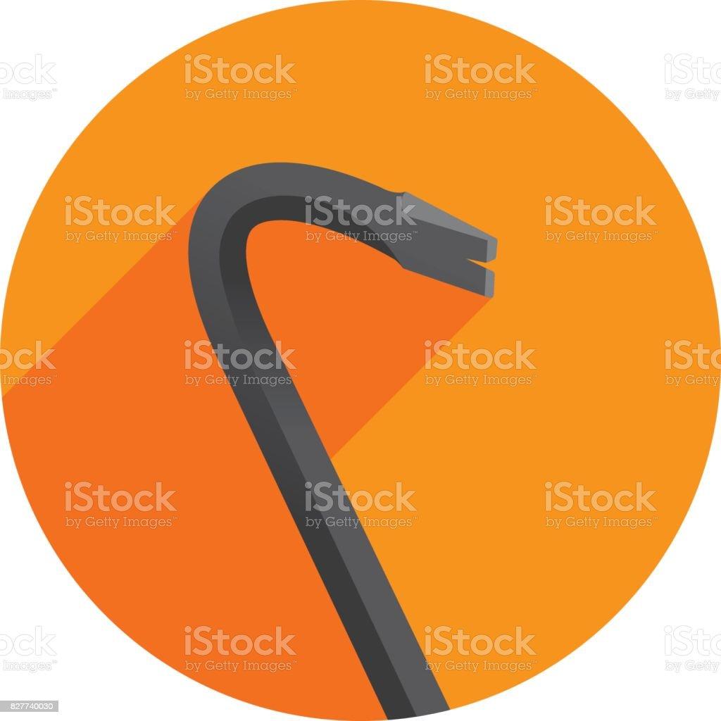 Crowbar Icon Flat Circle vector art illustration