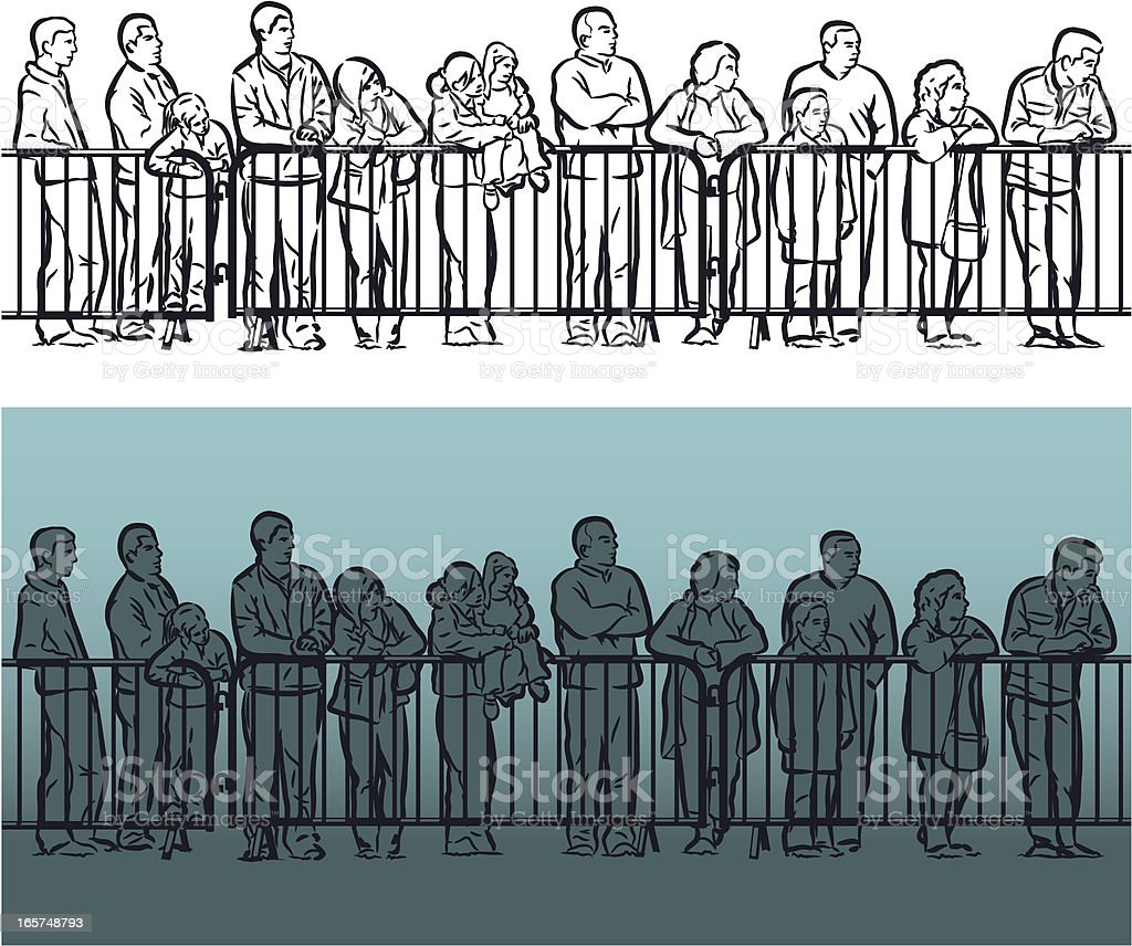 Crowd barrier vector art illustration