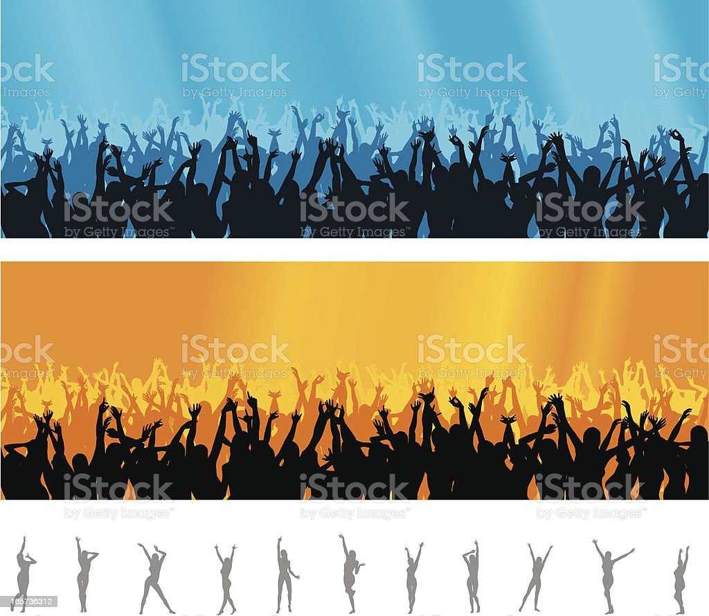 Crowd - concert vector art illustration