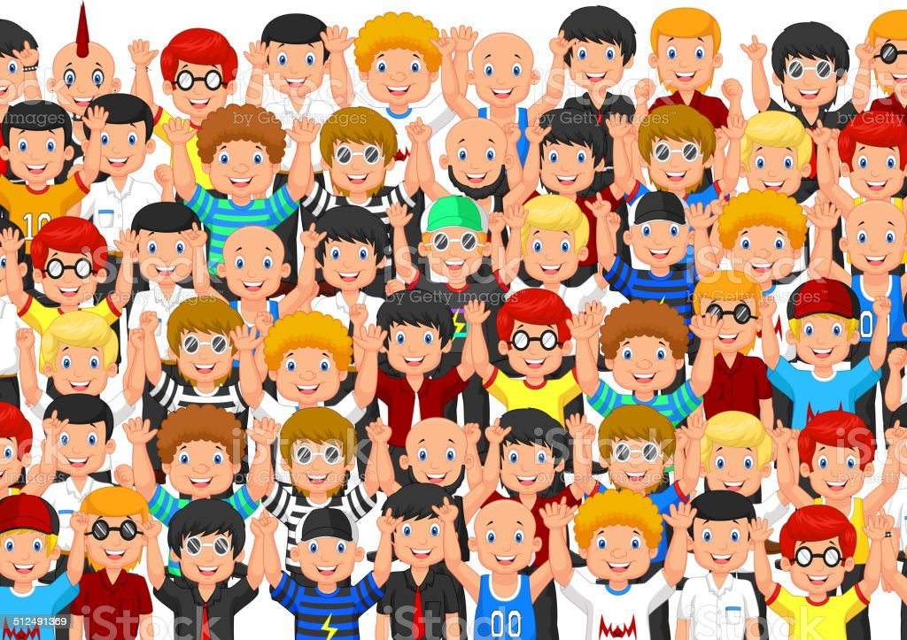 Crowd of cartoon People Cheering vector art illustration