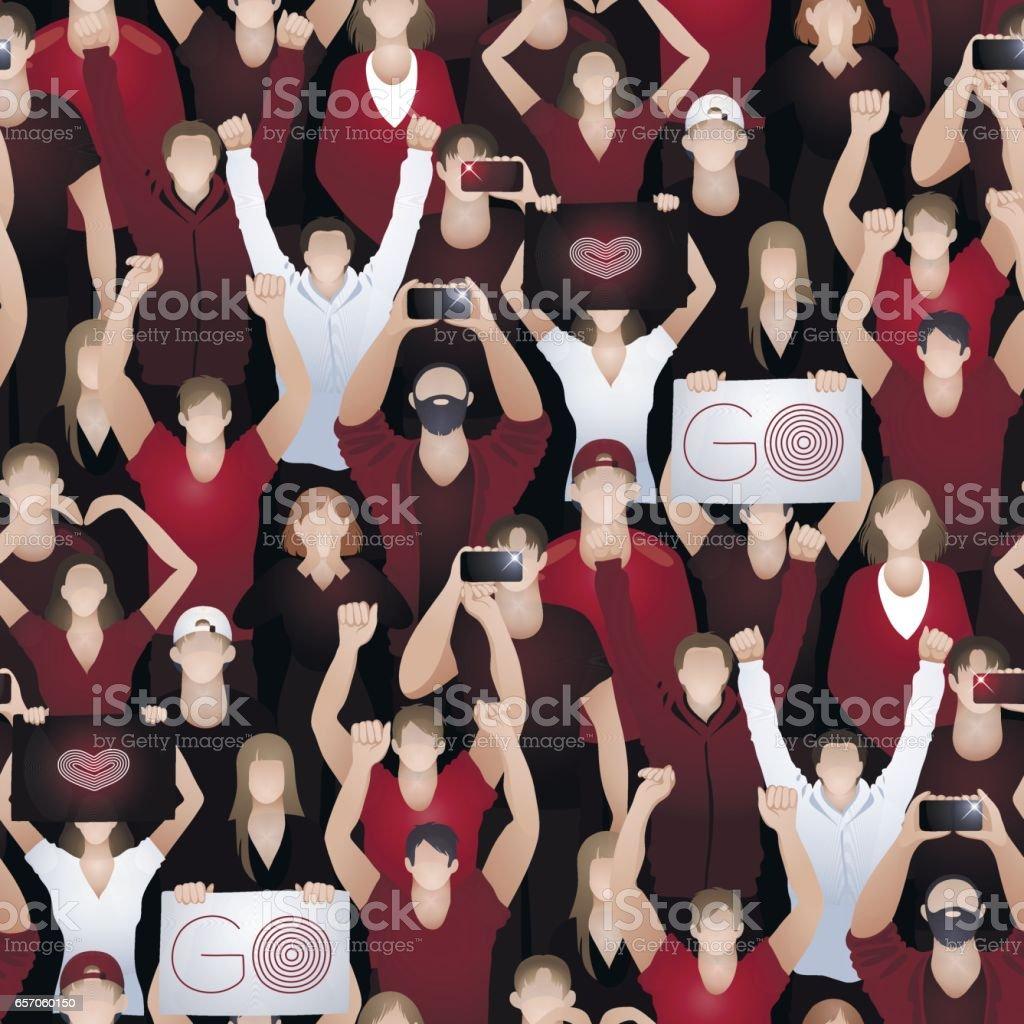 Crowd of cheering fans vector art illustration