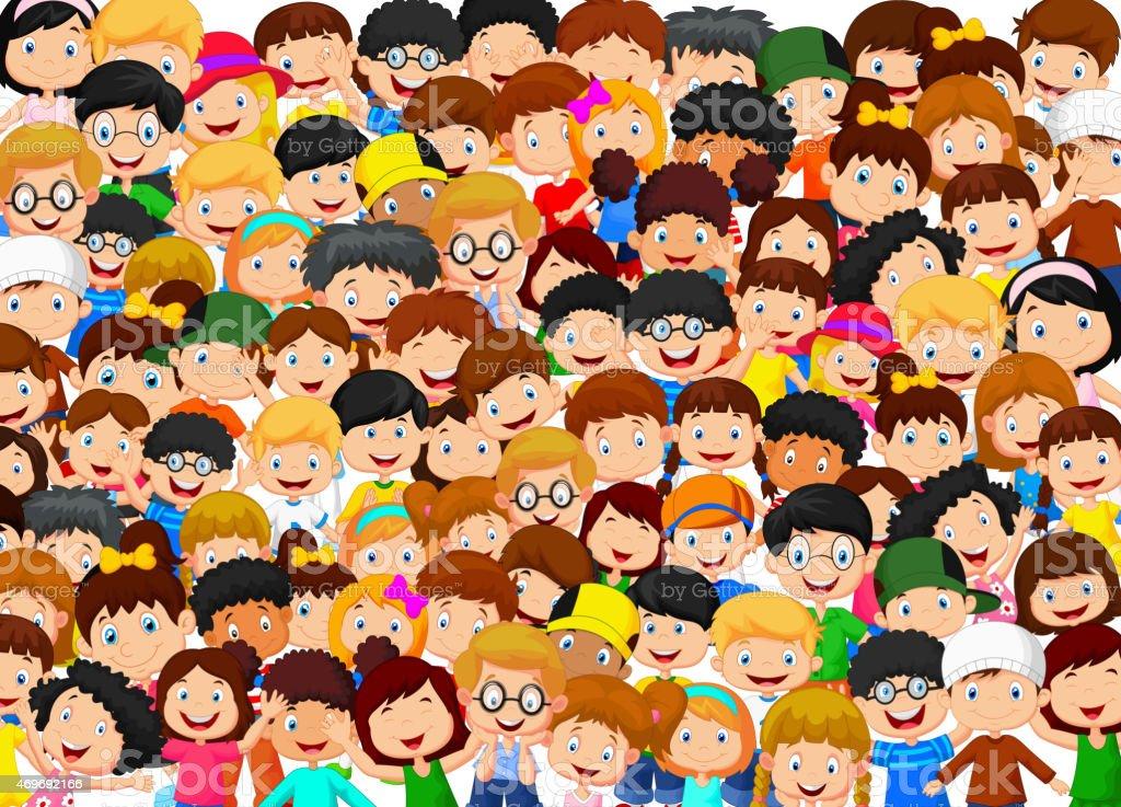 Crowd of children cartoon vector art illustration