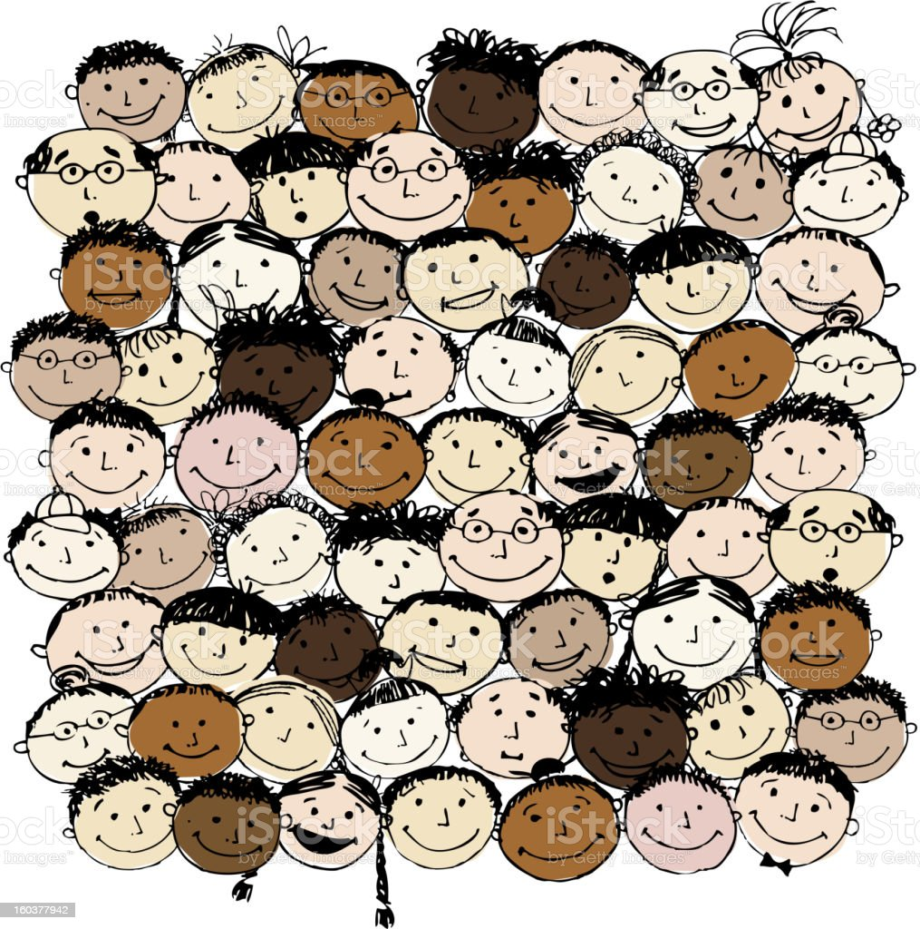 Crowd of funny peoples for your design royalty-free stock vector art